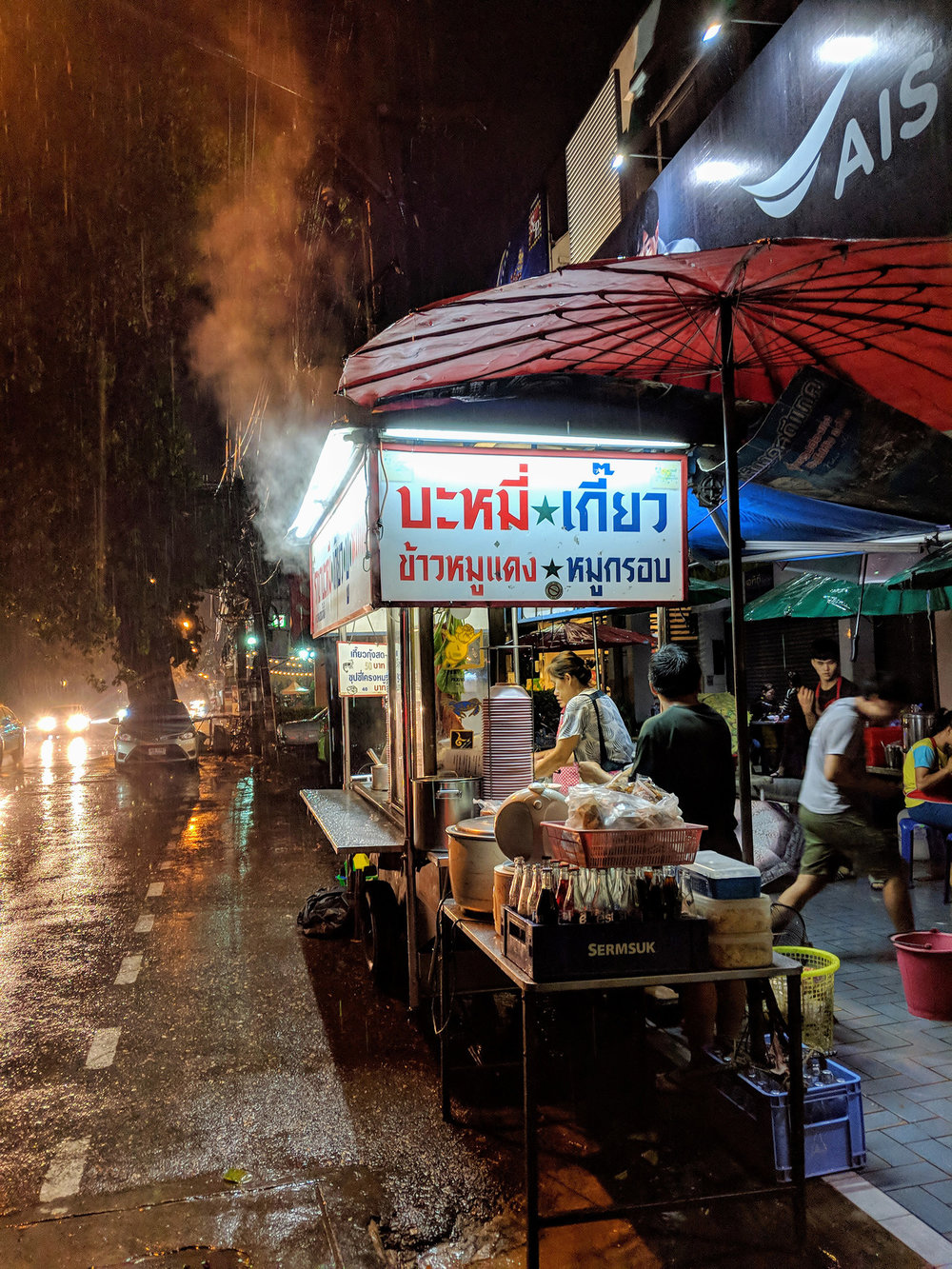 Pouring rain at Chang Phuek Gate night market
