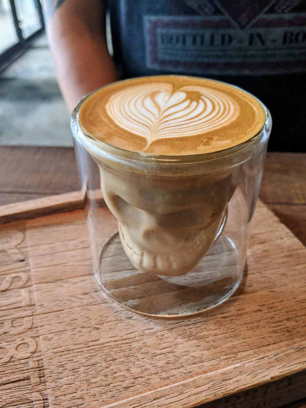 Fun glass for my latte at Ristr8o (didn't shell out for the fancy latte art)