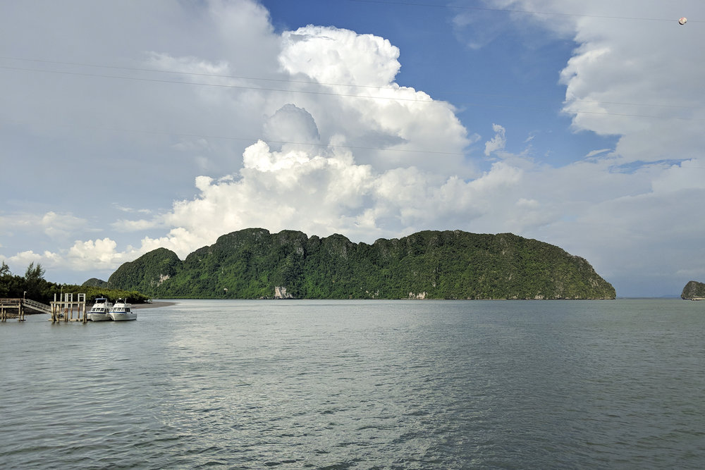 View of Ko La Pu Le from the ferry crossing from the mainland to Ko Lanta