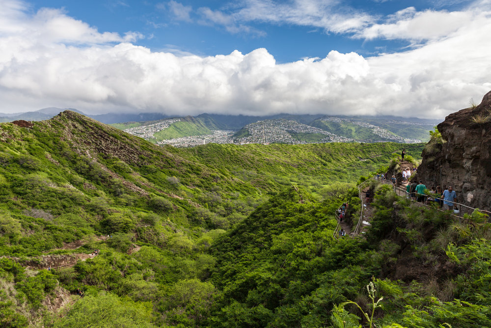Switchbacking trail up the Diamond Head crater