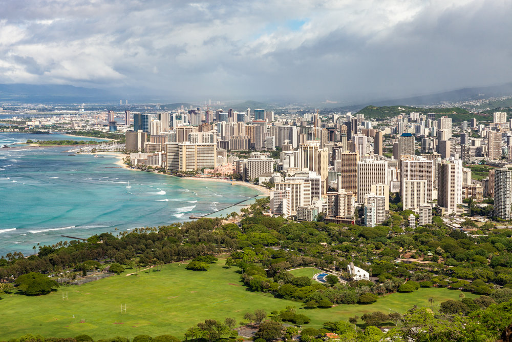 Views of Waikiki Beach from Diamond Head