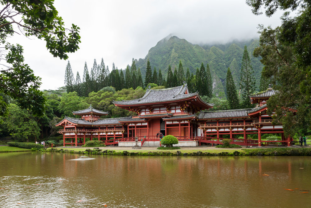 Byodo-In Buddhist Temple, a replica of an 11th Century Buddhist temple in Uji, Japan at the Valley of the Temples