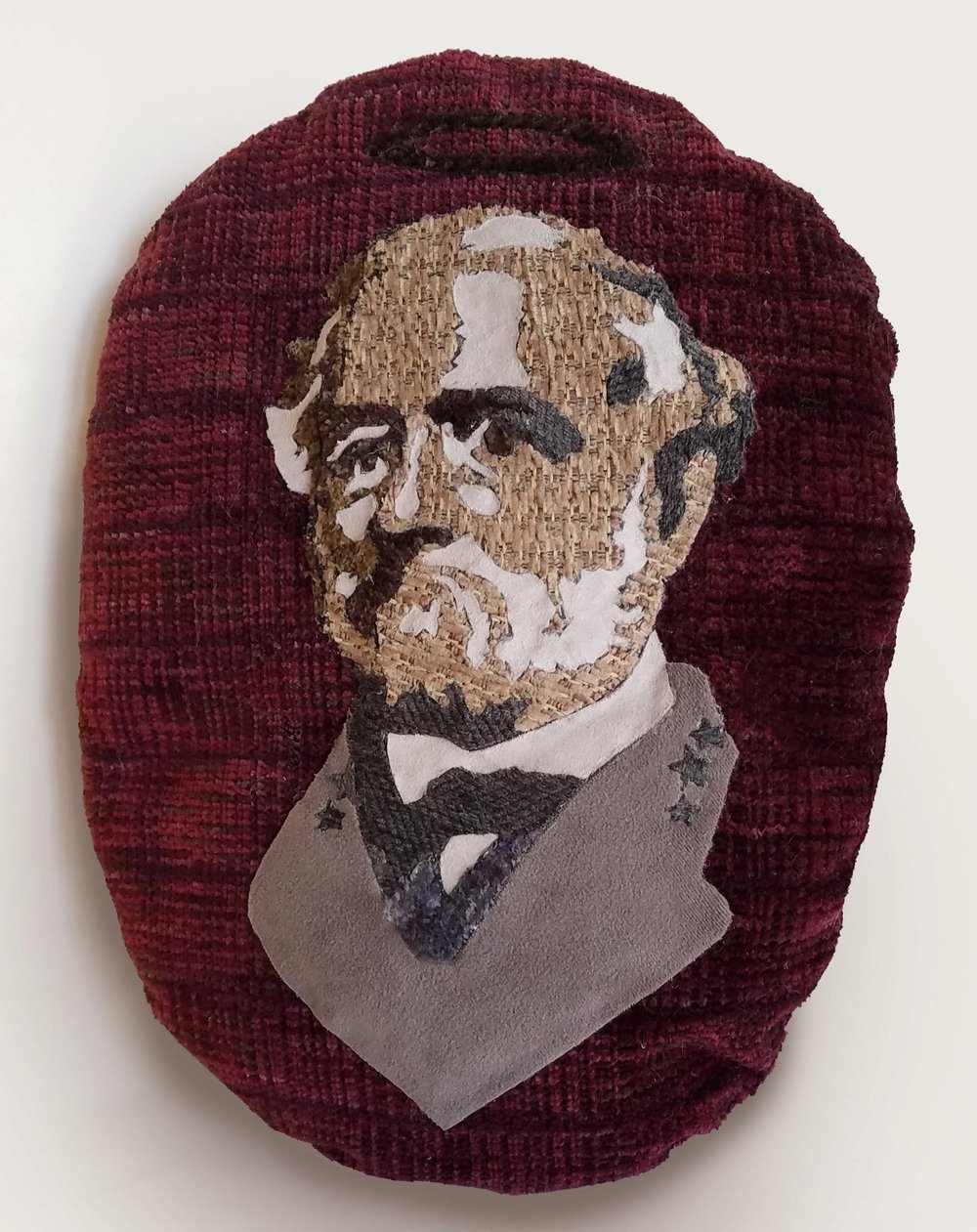 "installation component,  Hometown Hero (Chink): General Lee Pillow  15"" x 11"" upholstery fabric and polyester batting, 2016"