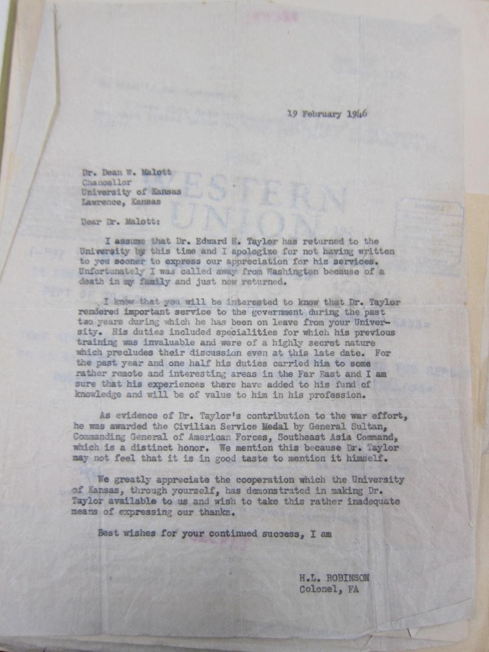 letter to university dean