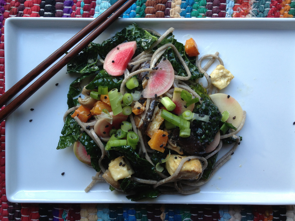 Winter Soba Salad with Miso-Grapefruit Dressing