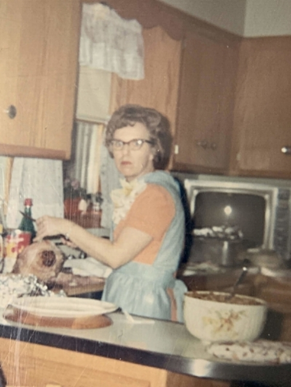 Grandma Ebeling cooking in the kitchen