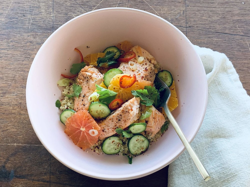 Olive Oil Basted Salmon with Citrus Salad and Lime Cilantro Quinoa