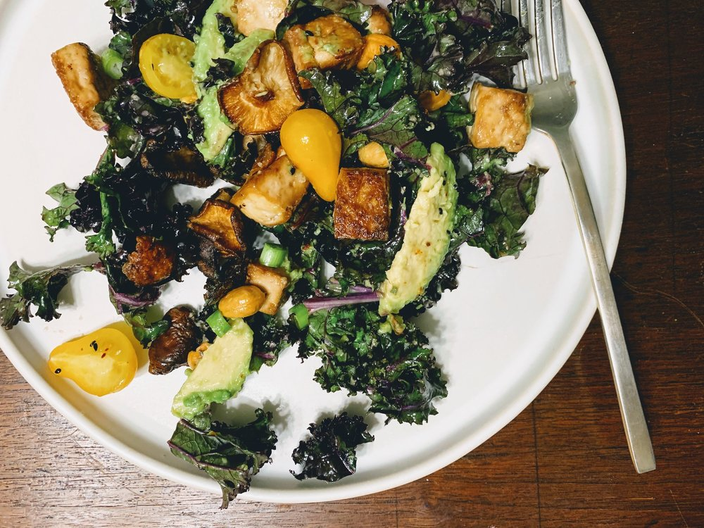 Crispy Tofu and Shiitake Mushroom Salad with Miso Ginger Dressing