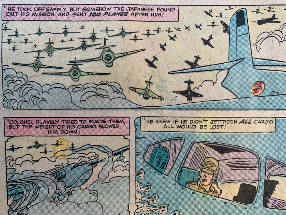 Flashback to World War II describing why the pilot had to dump the treasure to escape