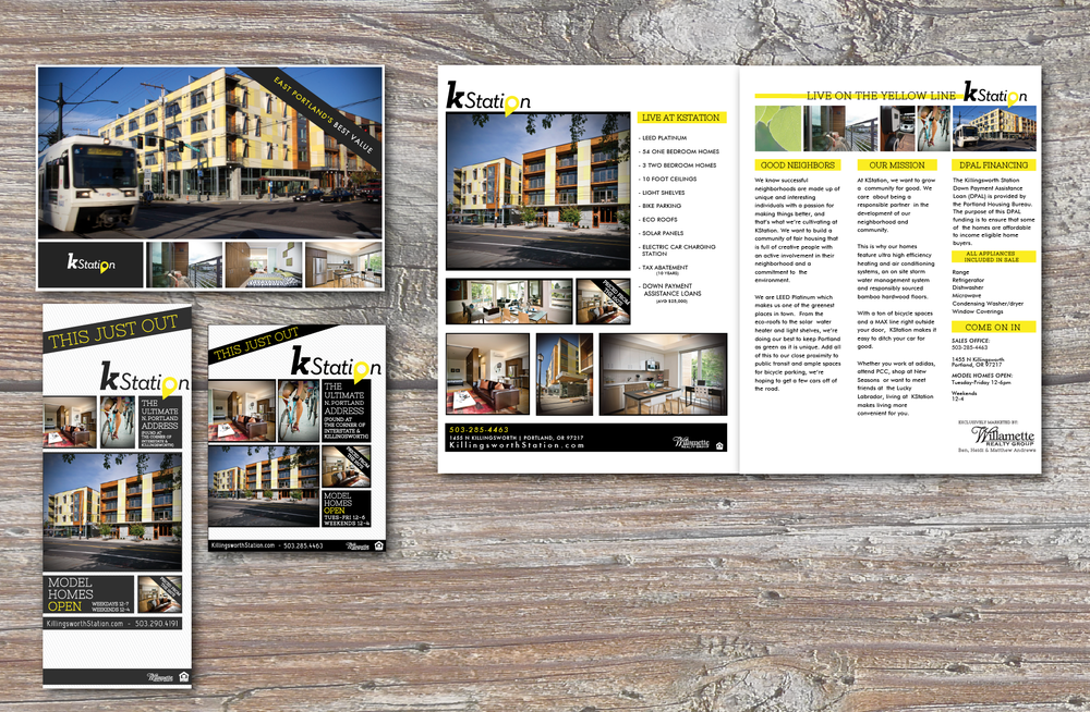 PROJECT: KStation Print & Online Ad Campaigns & Marketing Materials  CLIENT: Willamette Realty & Winkler Development Group