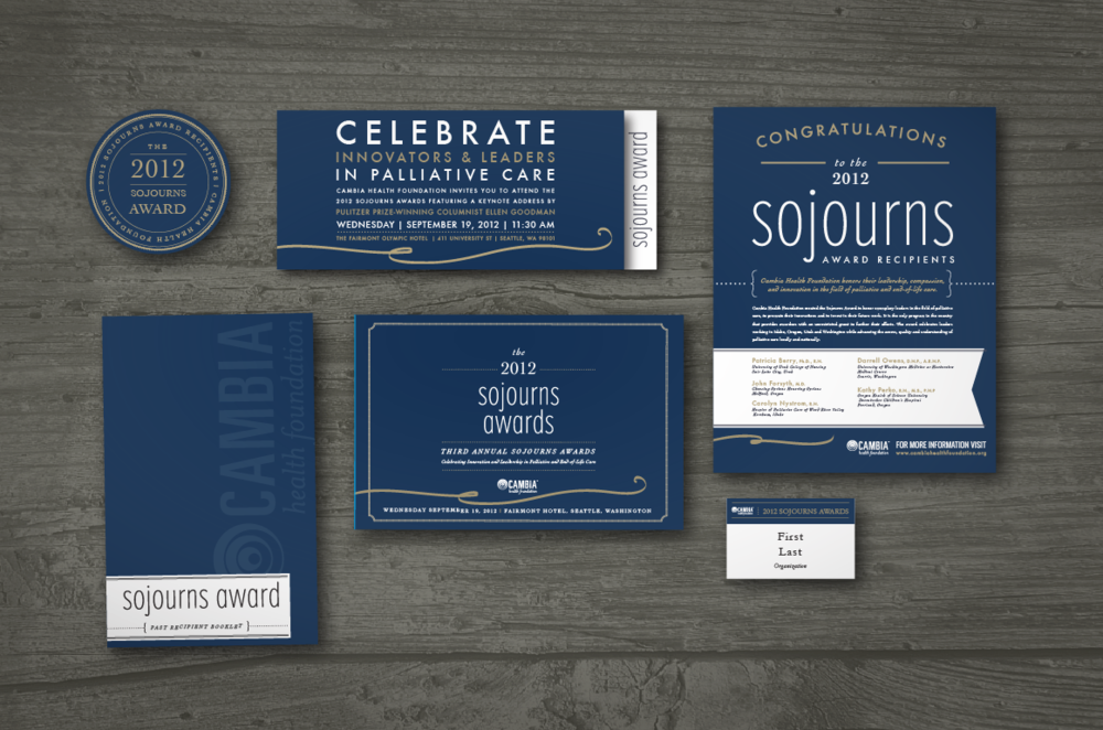CLIENT: Regence Blue Cross/ Cambia Health Foundation  PROJECT: 2013 Sojourns Awards Event Identity & Collateral