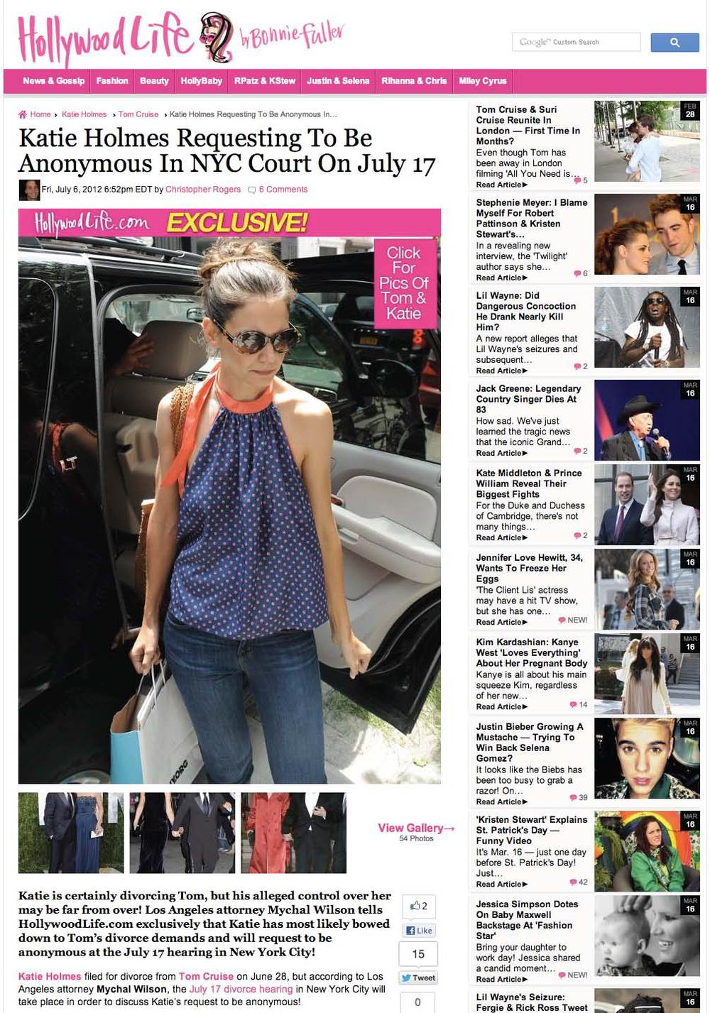 Katie Holmes Requesting To Be Anonymous In NYC Court On July 17