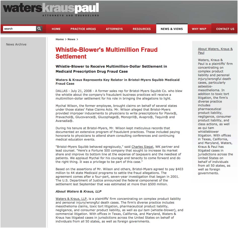 Whistle-Blower's Multimillion Fraud Settlement