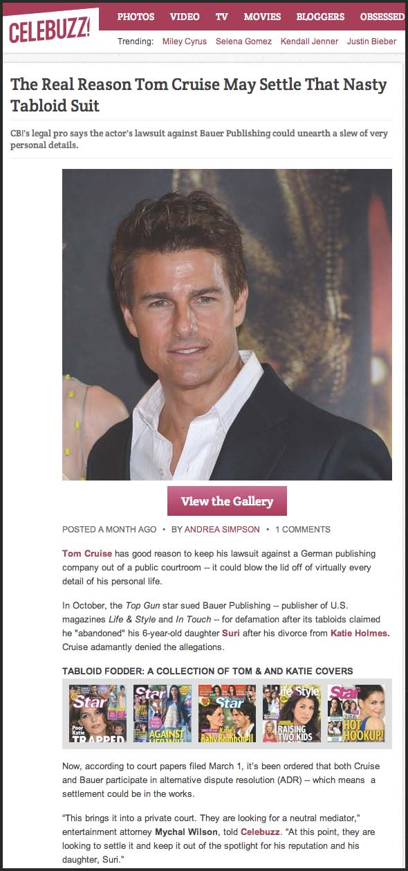 CELEBUZZ: The Real Reason Tom Cruise May Settle That Nasty Tabloid Suit