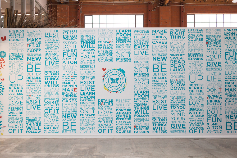 The Honest Manifesto Wall located in a common area in the former Santa Monica office.