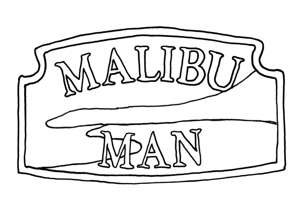 Drawing of the Malibu sign (ink on vellum)