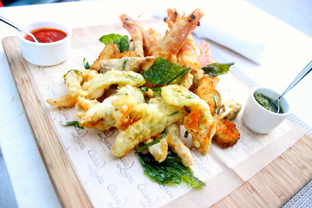 Casa Luca : Fritto Misto featuring squash blossoms (stuffed with a ...