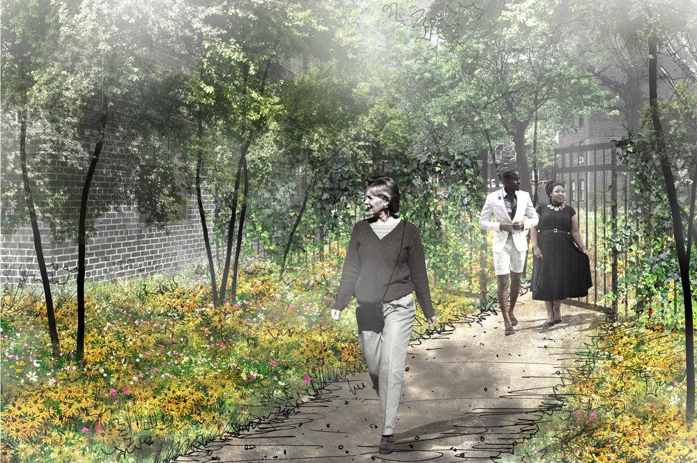 Garden gates for resident access to enclosed gardens