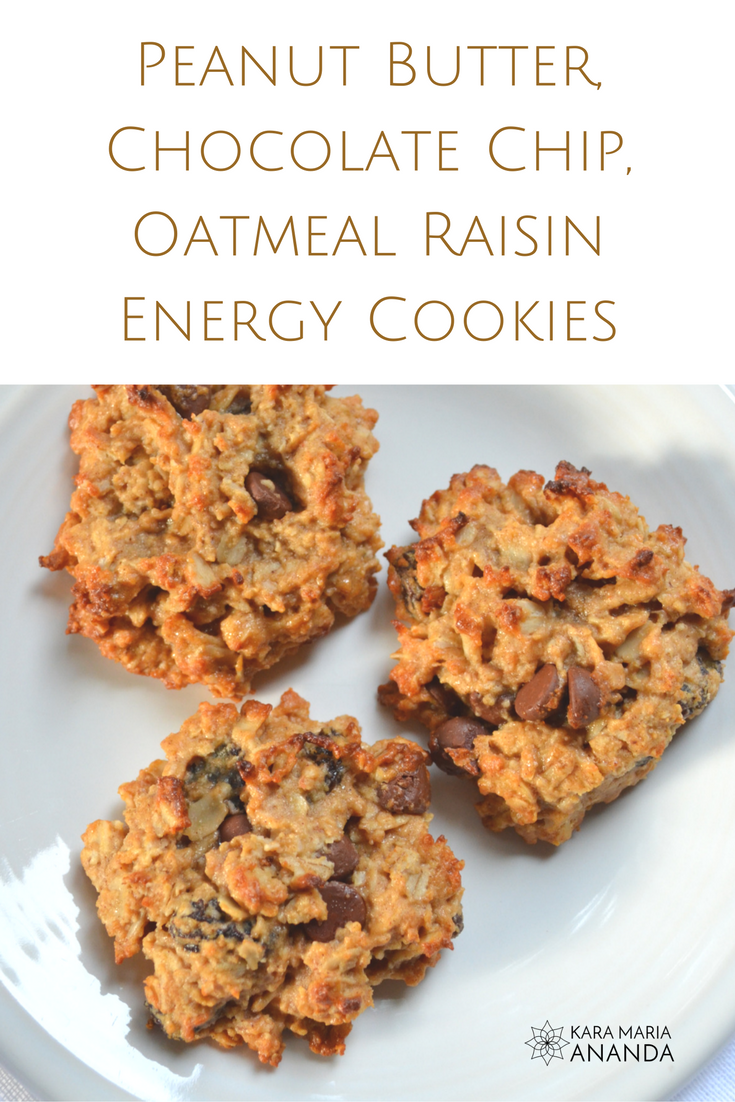Peanut Butter, Chocolate Chip, Oatmeal Raisin Energy Cookies
