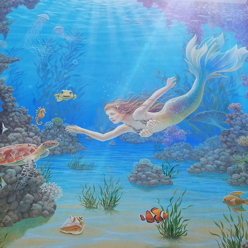 Mermaid mural in Capitola, California.
