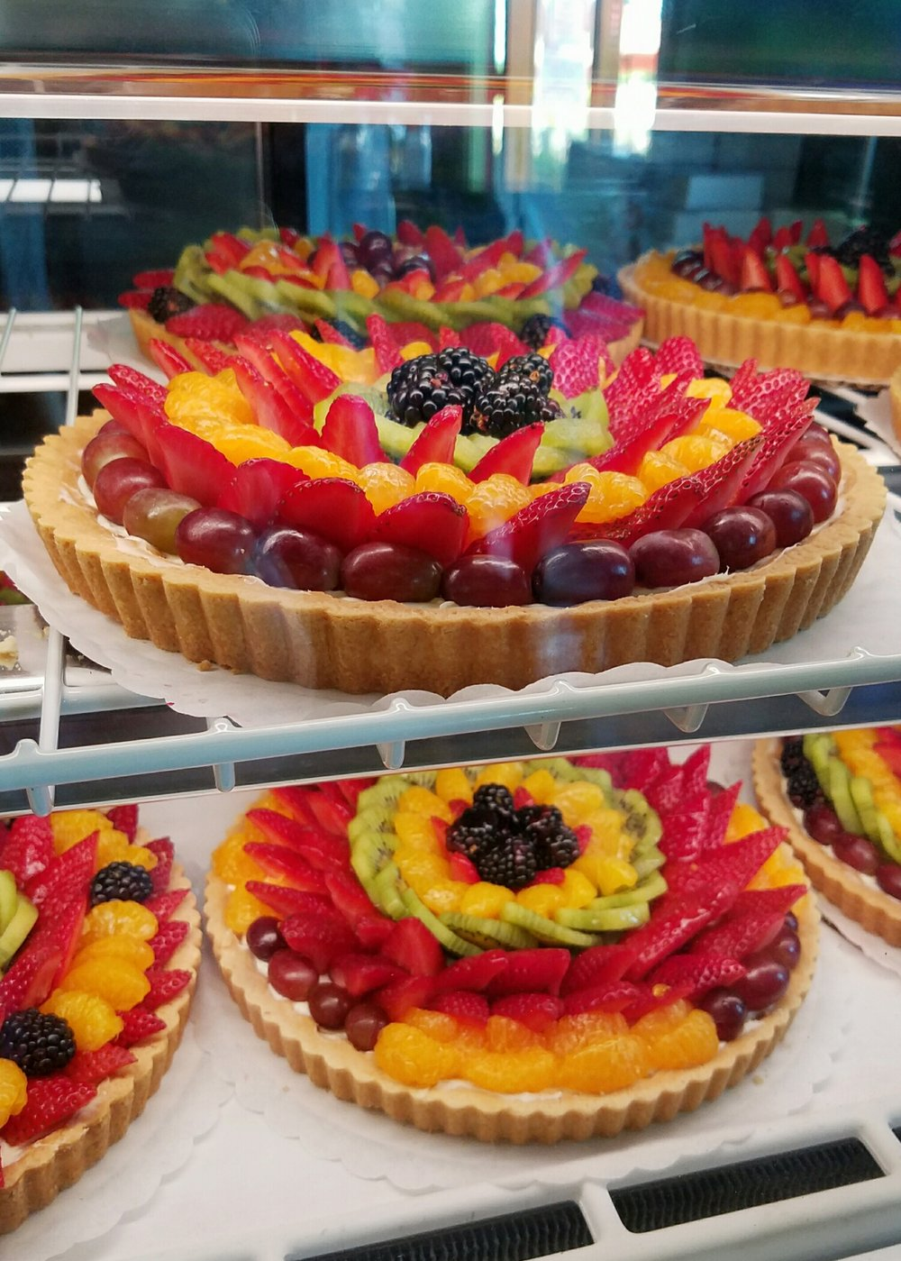 Rainbow fruit tarts at The Farm in Aptos, California