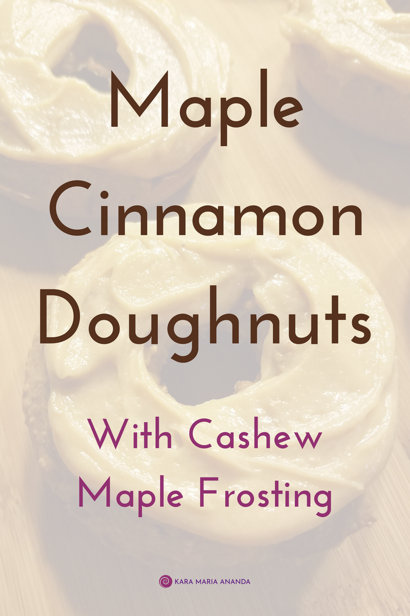 Maple Cinnamon Donuts with Cashew Maple Frosting recipe #glutenfree #organic #recipe #doughnuts #donuts