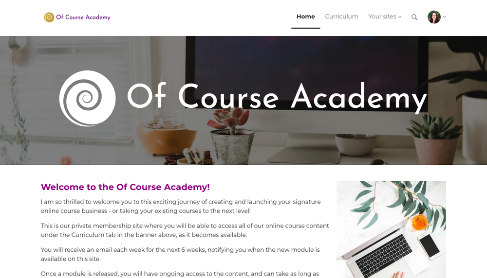 Join the Of Course Academy and learn how to create online courses with signature style.