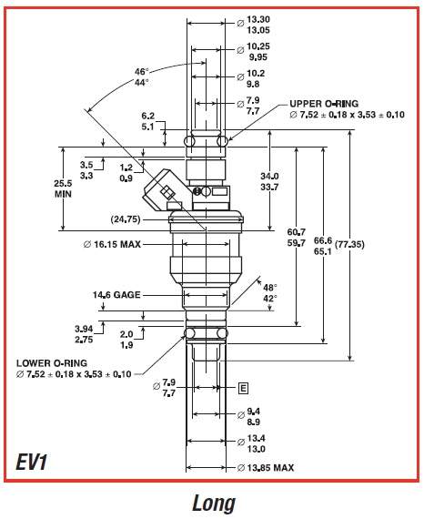 EV1 Injector Dimensions