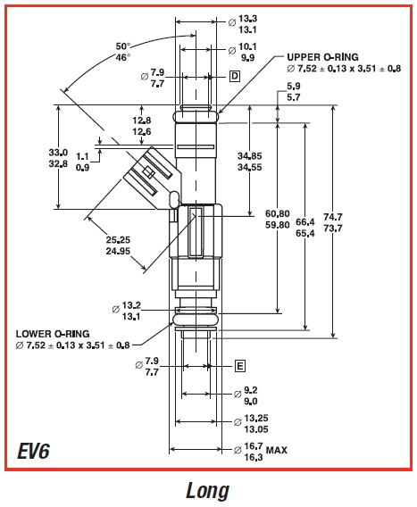EV6 Injector Dimensions