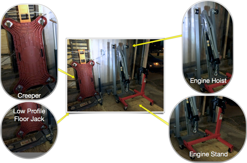 Creeper (left), high lift, low-profile jack (bottom left), 2 ton folding engine hoist (right, grey) and 1000 lb engine stand (right, red).