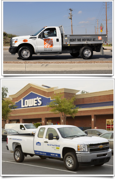 Home Depot (top) and Lowe's (bottom) rental trucks.