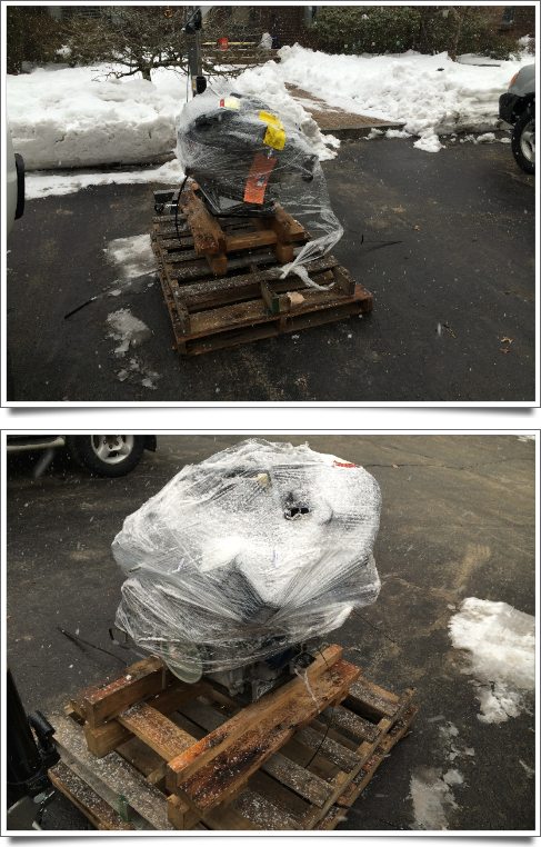 The engine as delivered.  The loose plastic in the top photo is from my cutting it open; it was shipped tightly wrapped as in the bottom photo.