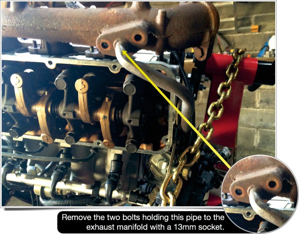 A pipe leading from the exhaust manifold to the lower crankcase needs to be unbolted.