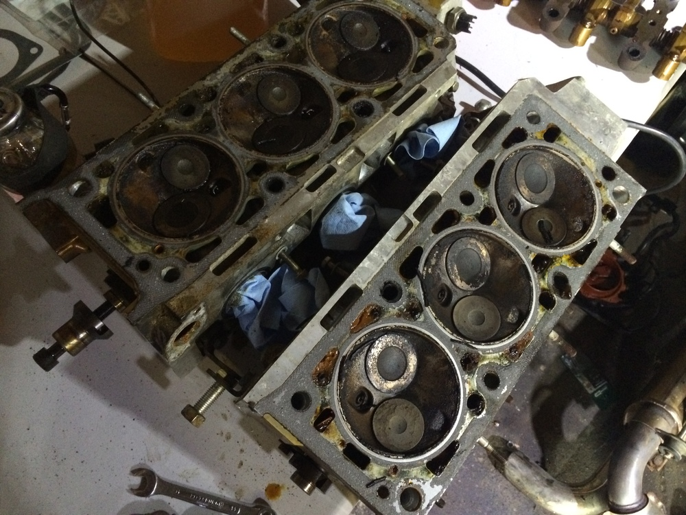 Cylinder heads with the gaskets removed.