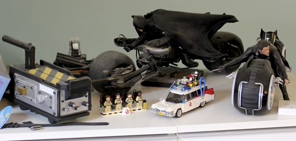 Batpod,  TRON Legacy  Light Cycle, LEGO  Ghostbusters  ECTO-1 and ghost trap.