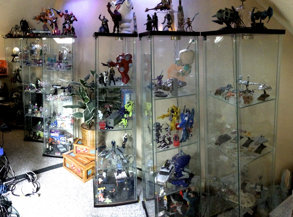 The main collection, stored in and around six IKEA display cases.