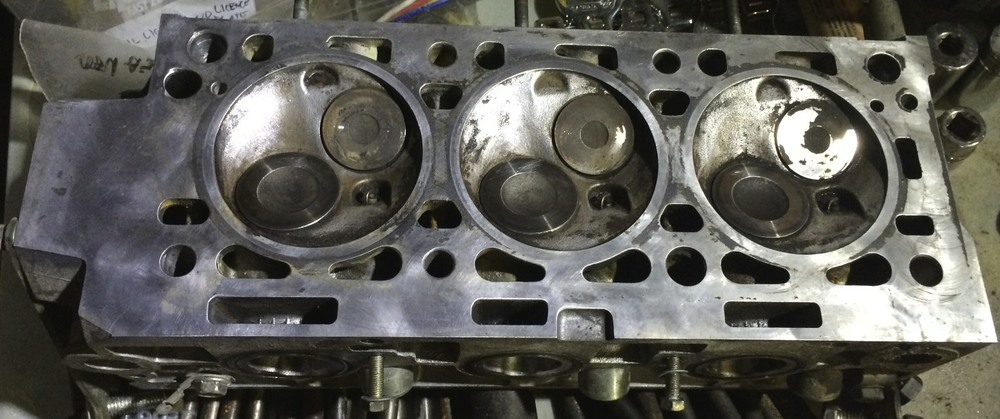 The mostly cleaned up cylinder head.