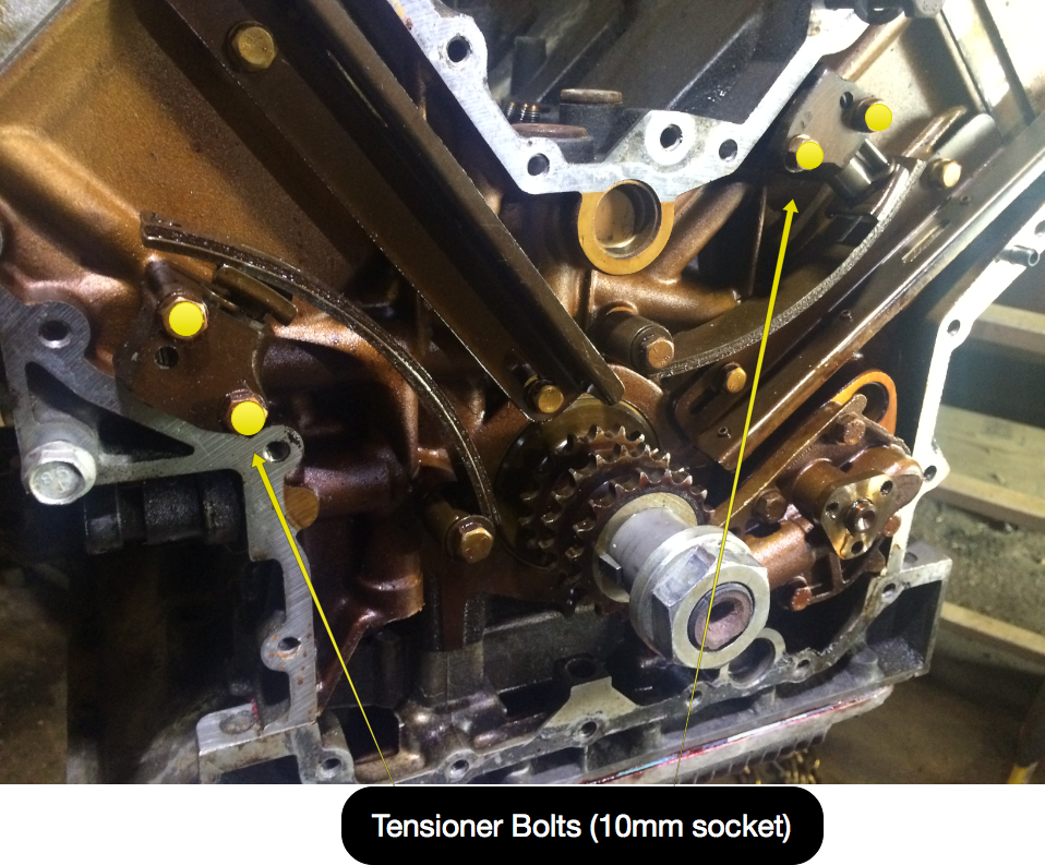 Tensioner bolt locations.