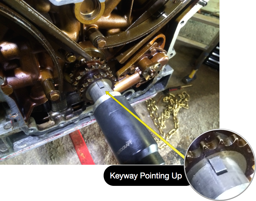 Using a 35mm socket to turn the crank so that the keyway is pointing straight up.