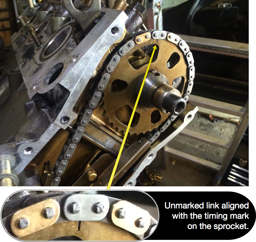 The unmarked link between the two marked links lines up with the stamped mark on the sprocket.