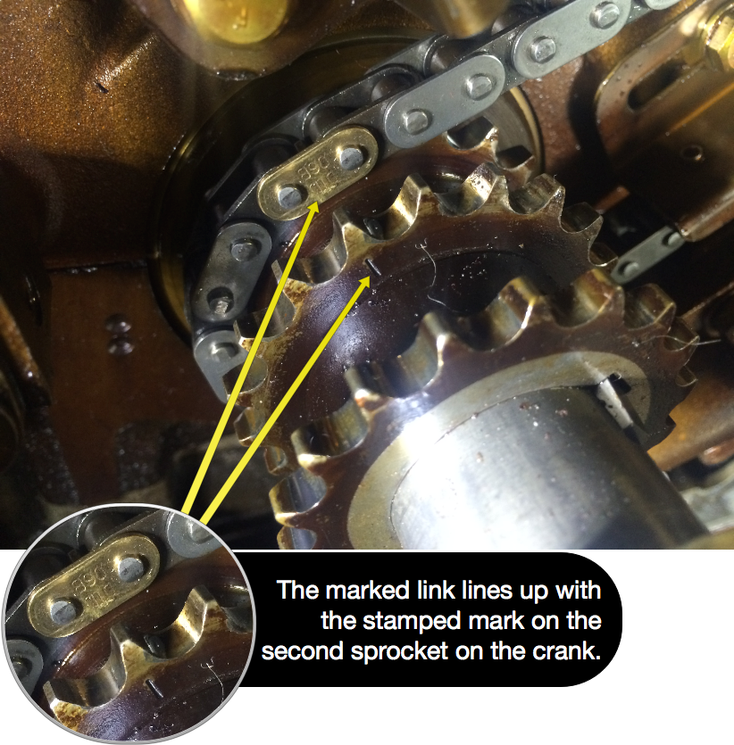 The marked link lines up with the stamped mark on the second crank sprocket.
