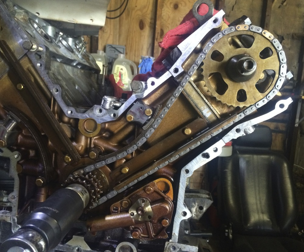 The installed passenger side timing chain.