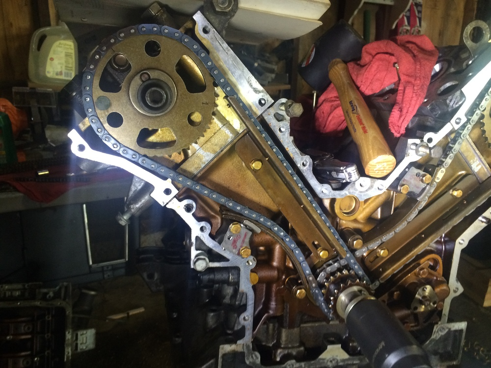 The installed timing chain.  Note that the engine has been rotted, so the marked links on the cam sprocket aren't quite where they would be immediately after reinstallation, but it is installed correctly.
