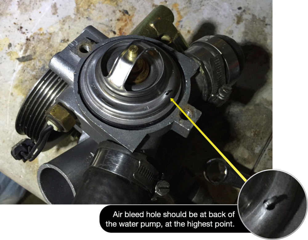 The air bleed hole on in the thermostat should sit at the highest point in the pump, towards the back of the pump.