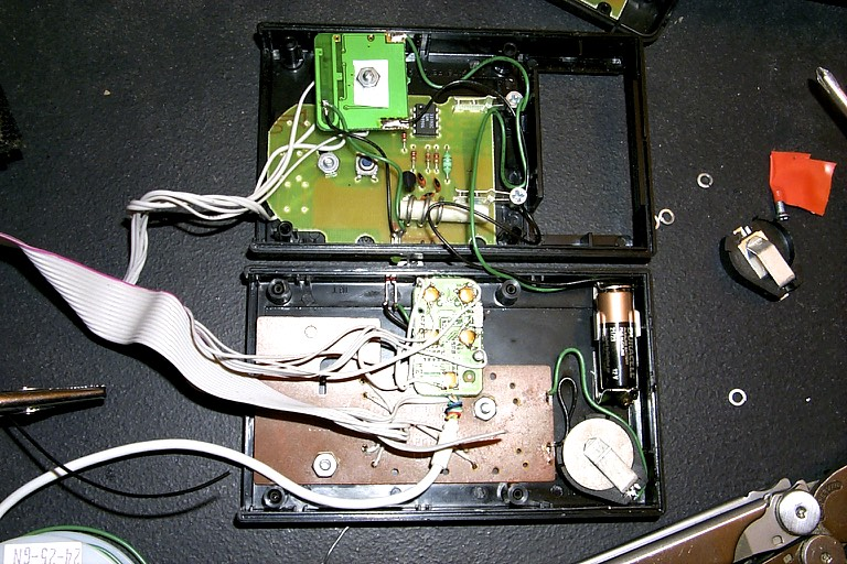 The remote control box, closed (top) and open (bottom).