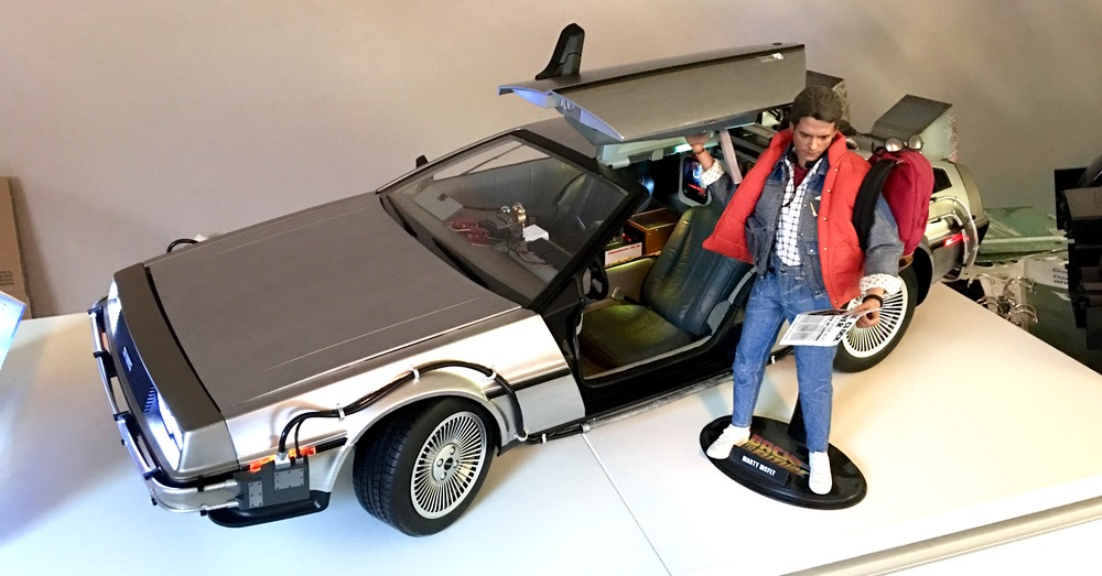 Masterpiece 1/16th scale Back to the Future Time Machine and Marty Mcfly