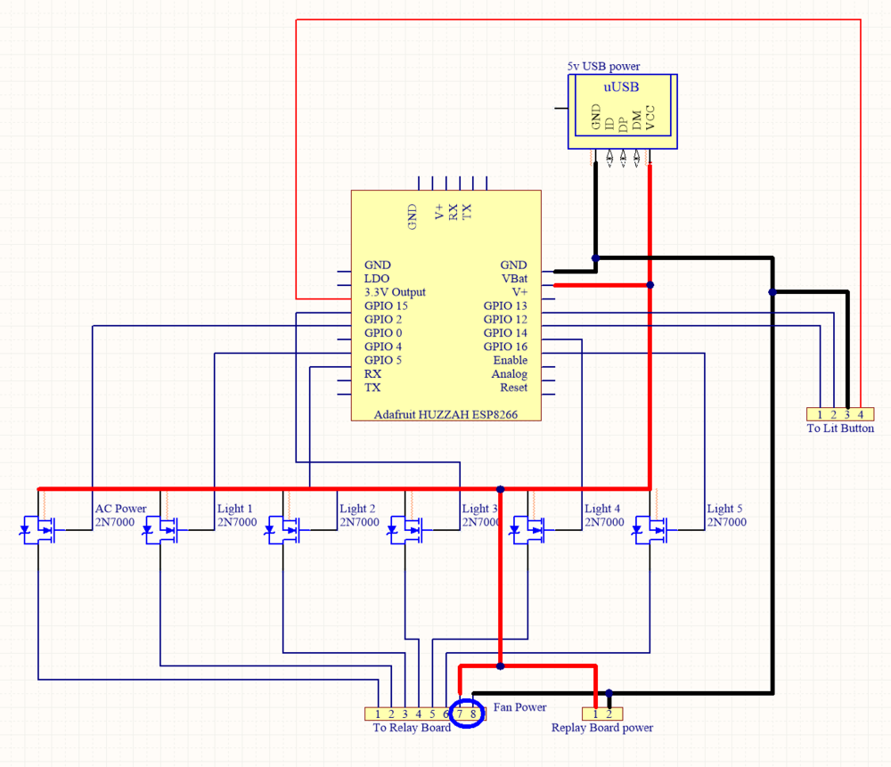 Simple schematic showing how the ESP8266 is wired  to the transistors, USB power supply and lit button, as well as the optional fan power (created with Altium CircuitMaker).