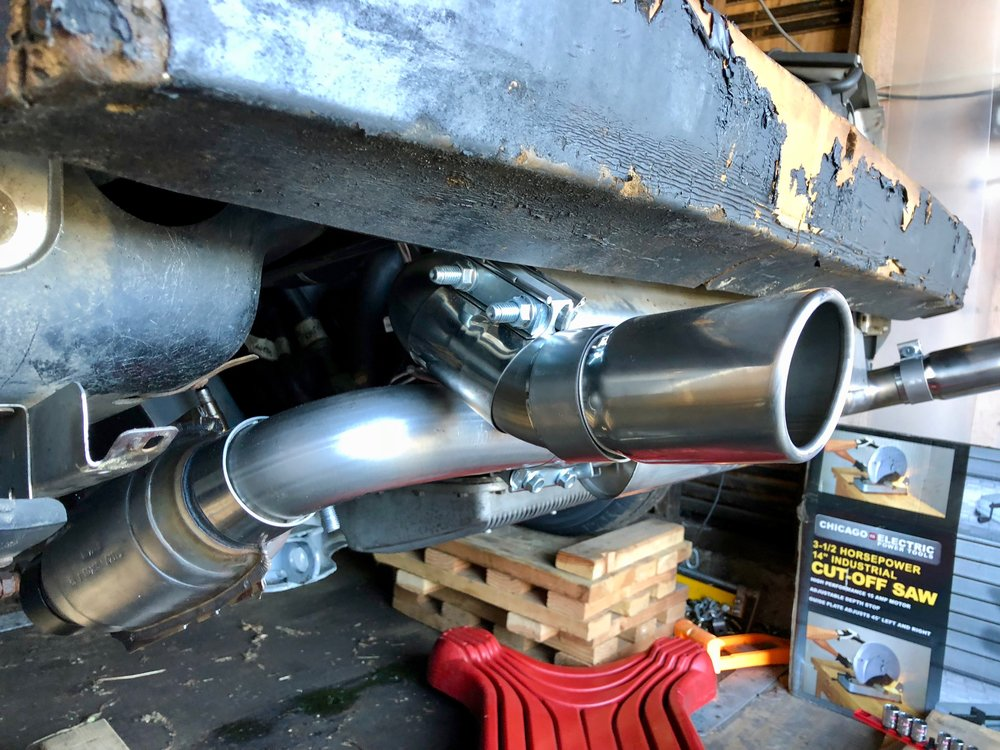 Thee driver's side exhaust tip in roughly it's final mounting position.