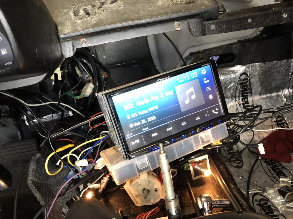 Testing the head unit with Bluetooth audio.
