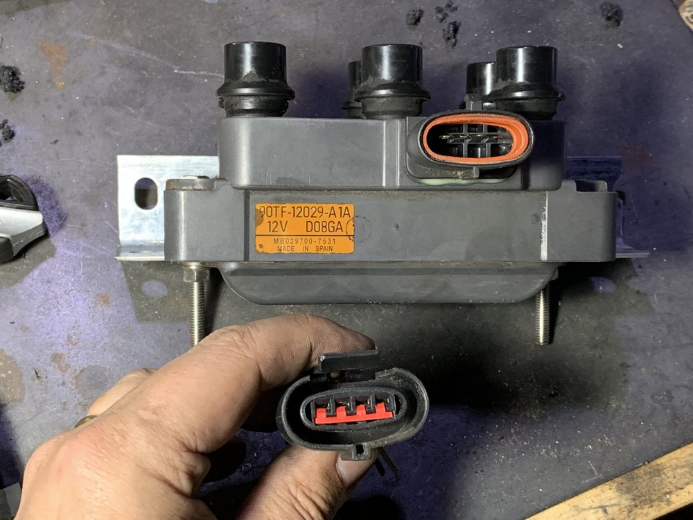 The four pin connector. Don't forget to grab this when you get your coil pack from the junkyard.